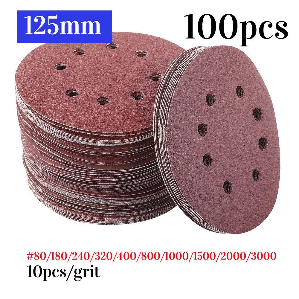 100pcs 125mm Round Shape Sanding Discs Hook Loop Sanding Paper Buffing Sheet Sand paper 8 Hole Sandpaper Polishing Pad